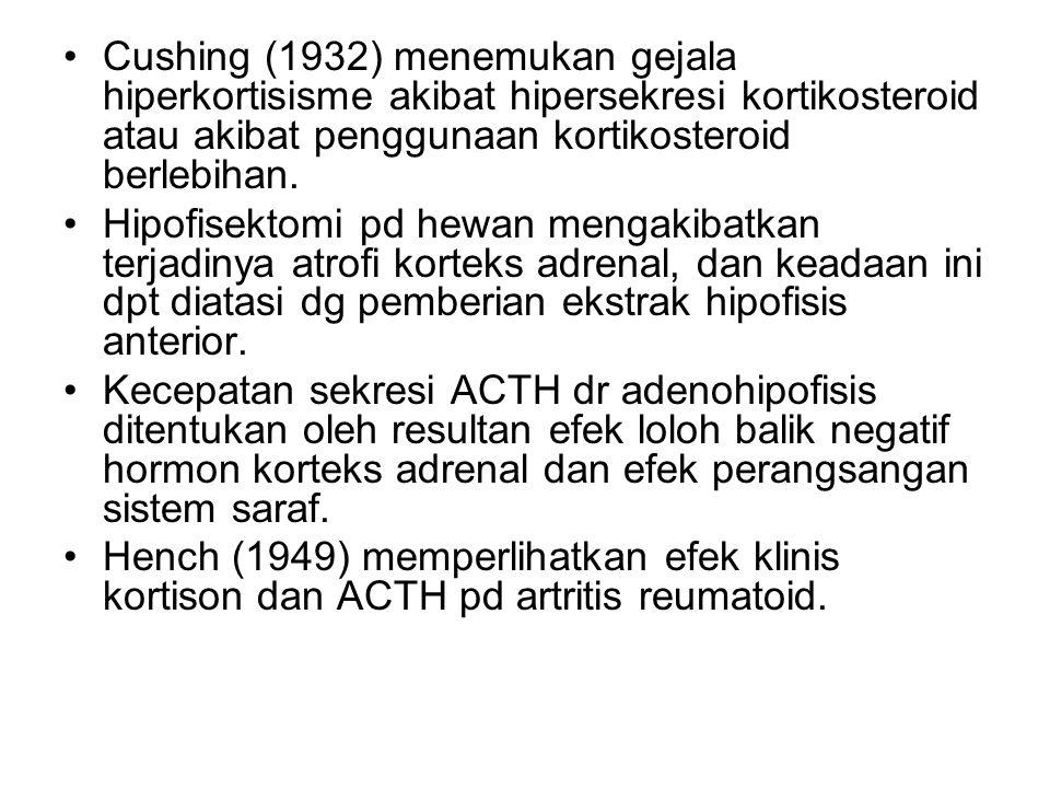 Cushing (1932) menemukan gejala hiperkortisisme akibat hipersekresi kortikosteroid atau akibat penggunaan kortikosteroid berlebihan.