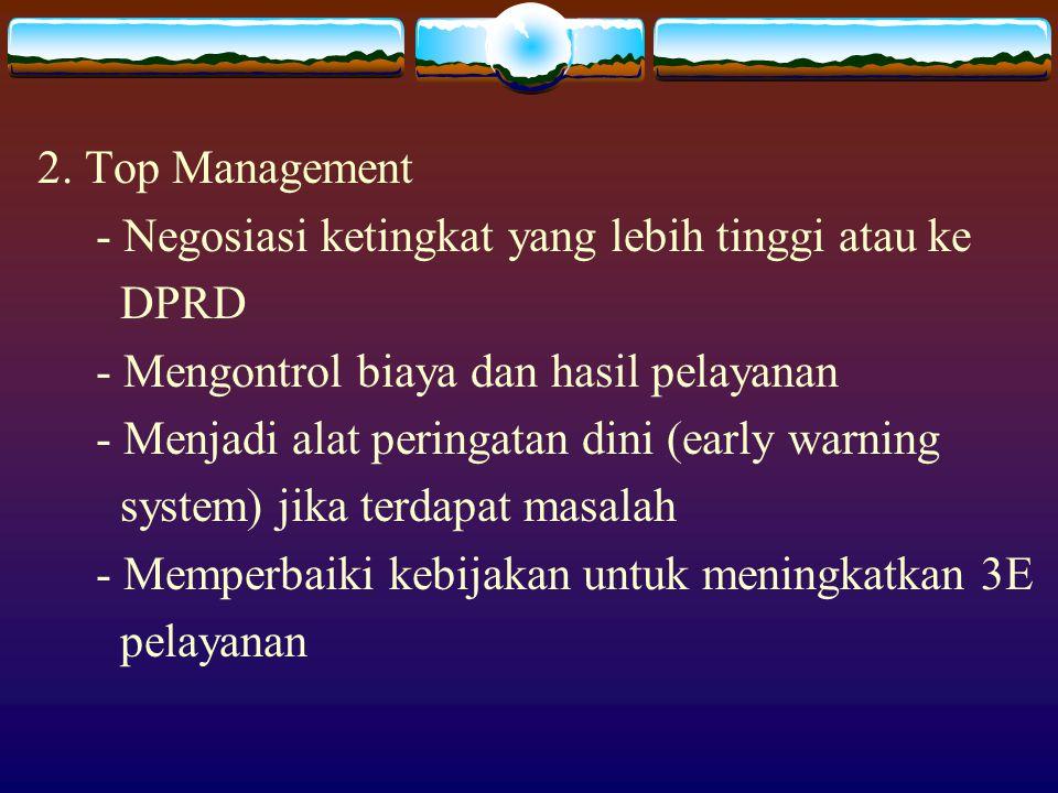 2. Top Management - Negosiasi ketingkat yang lebih tinggi atau ke. DPRD. - Mengontrol biaya dan hasil pelayanan.