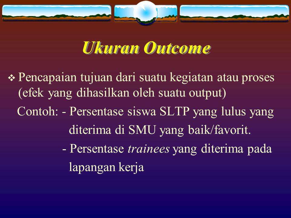 Ukuran Outcome Pencapaian tujuan dari suatu kegiatan atau proses (efek yang dihasilkan oleh suatu output)