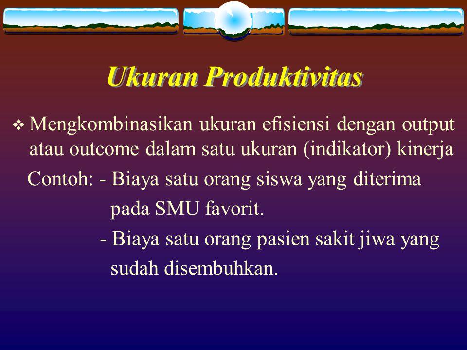 Ukuran Produktivitas Mengkombinasikan ukuran efisiensi dengan output atau outcome dalam satu ukuran (indikator) kinerja.
