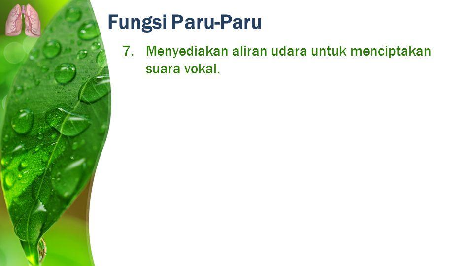Fungsi Paru-Paru Menyediakan aliran udara untuk menciptakan suara vokal.