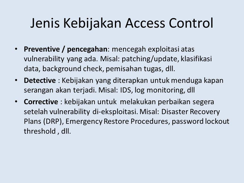 Jenis Kebijakan Access Control