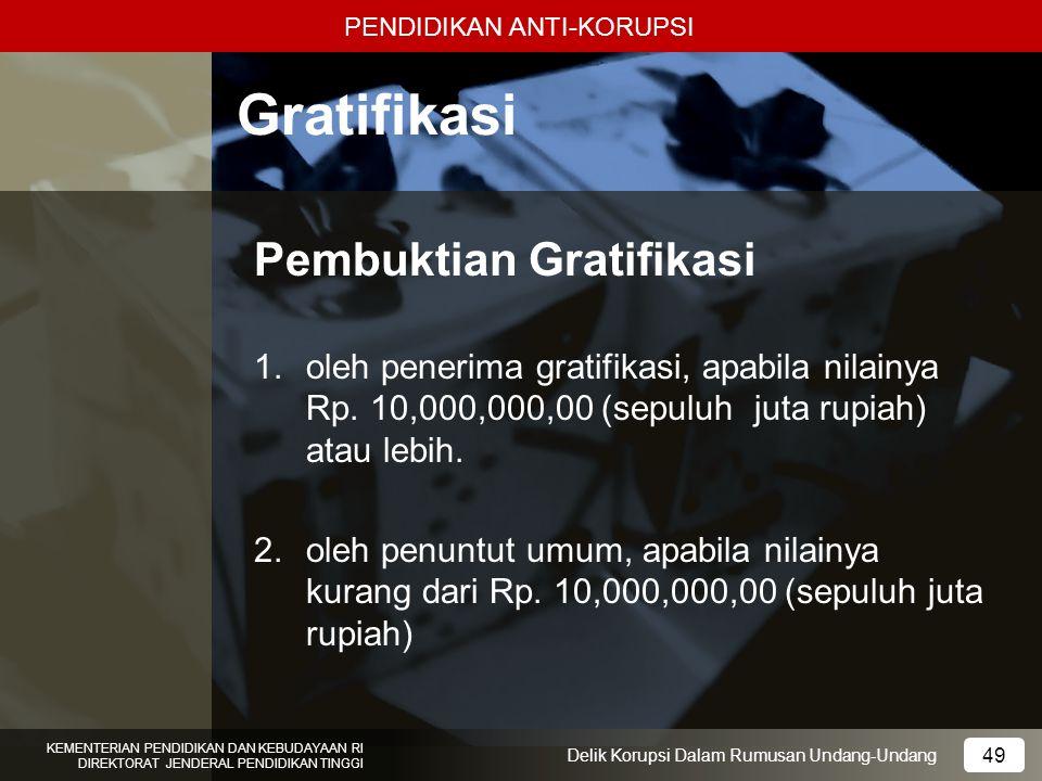 Gratifikasi Pembuktian Gratifikasi