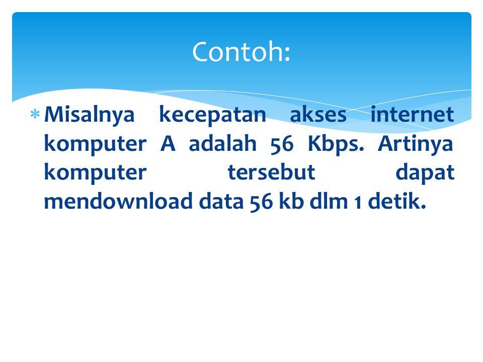 Contoh: Misalnya kecepatan akses internet komputer A adalah 56 Kbps.