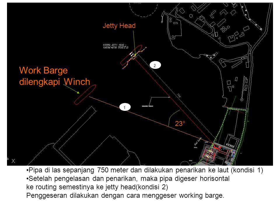 Work Barge dilengkapi Winch Jetty Head 23°
