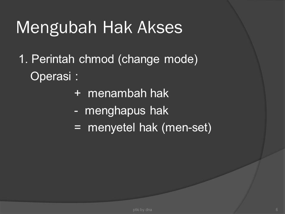 Mengubah Hak Akses 1. Perintah chmod (change mode) Operasi :