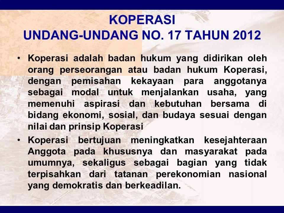 KOPERASI UNDANG-UNDANG NO. 17 TAHUN 2012
