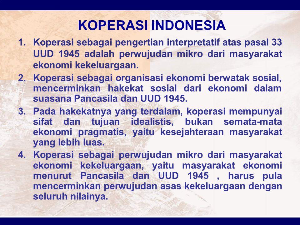 KOPERASI INDONESIA Koperasi sebagai pengertian interpretatif atas pasal 33 UUD 1945 adalah perwujudan mikro dari masyarakat ekonomi kekeluargaan.