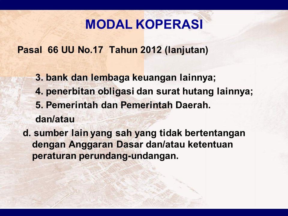 MODAL KOPERASI Pasal 66 UU No.17 Tahun 2012 (lanjutan)