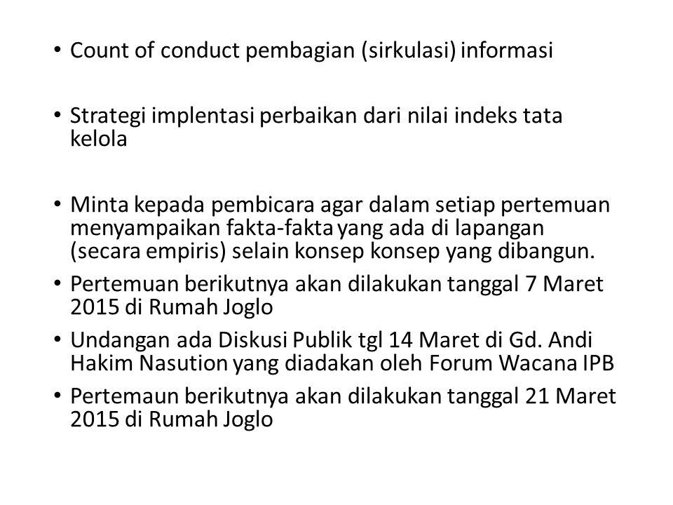 Count of conduct pembagian (sirkulasi) informasi