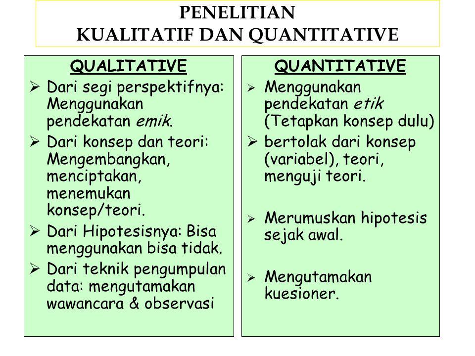 PENELITIAN KUALITATIF DAN QUANTITATIVE
