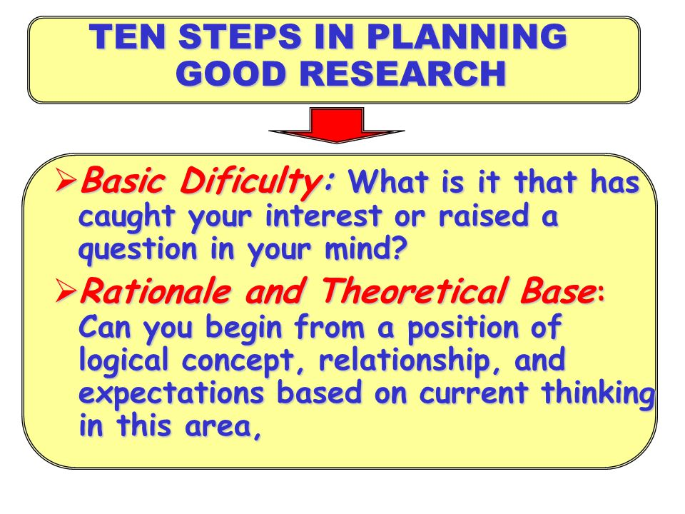 TEN STEPS IN PLANNING GOOD RESEARCH