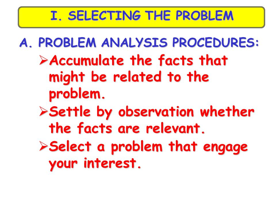 I. SELECTING THE PROBLEM
