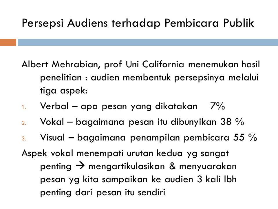 Persepsi Audiens terhadap Pembicara Publik