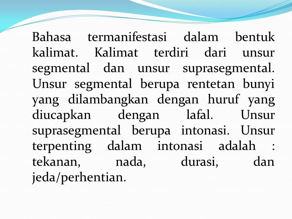 Bahasa termanifestasi dalam bentuk kalimat