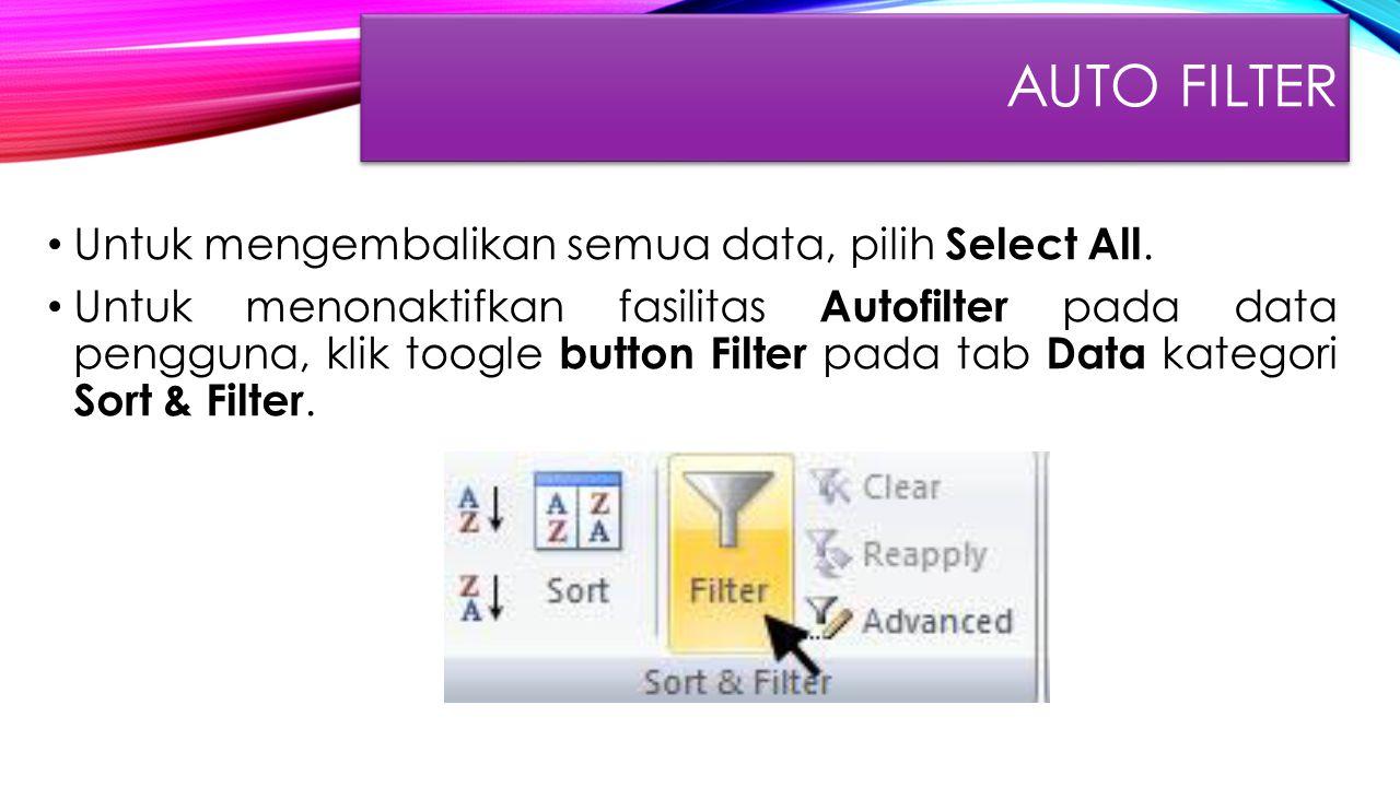 Auto FIlter Untuk mengembalikan semua data, pilih Select All.