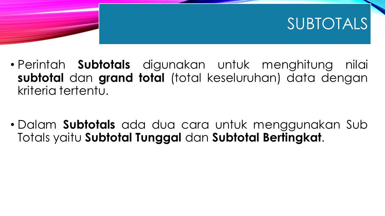 Subtotals Perintah Subtotals digunakan untuk menghitung nilai subtotal dan grand total (total keseluruhan) data dengan kriteria tertentu.