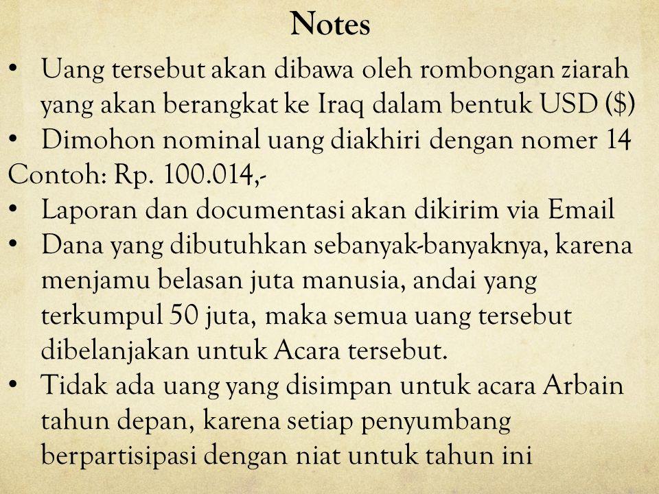 Notes Uang tersebut akan dibawa oleh rombongan ziarah yang akan berangkat ke Iraq dalam bentuk USD ($)