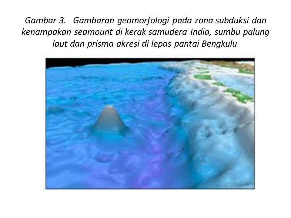 Gambar 3. Gambaran geomorfologi pada zona subduksi dan kenampakan seamount di kerak samudera India, sumbu palung laut dan prisma akresi di lepas pantai Bengkulu.