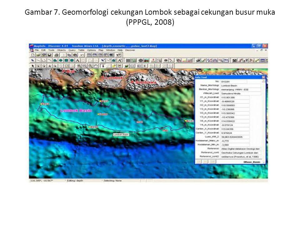 Gambar 7. Geomorfologi cekungan Lombok sebagai cekungan busur muka (PPPGL, 2008)