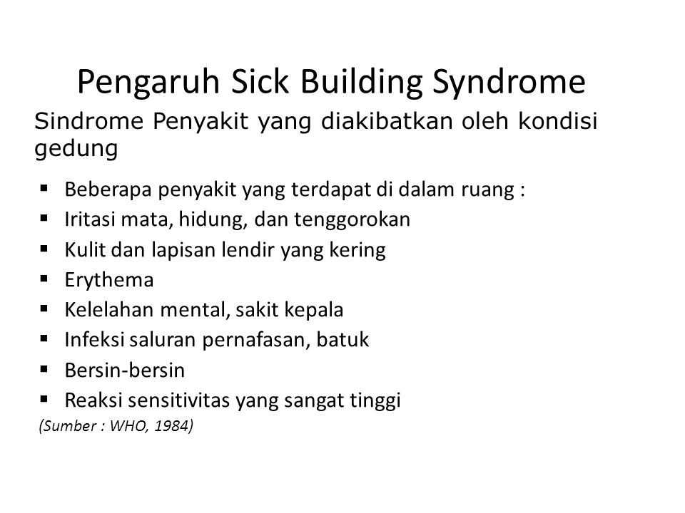Pengaruh Sick Building Syndrome