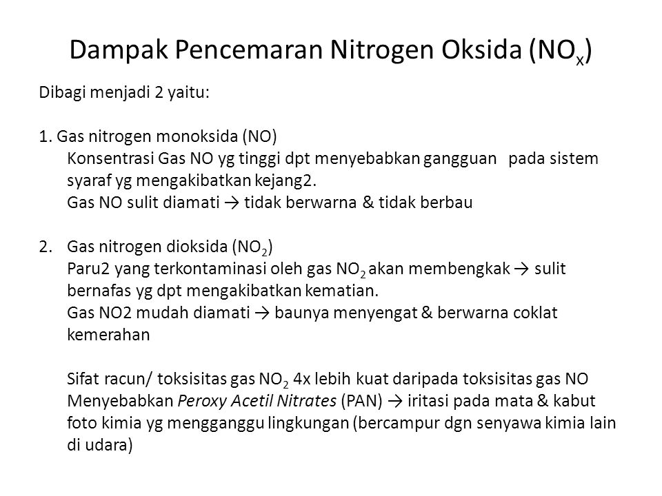 Dampak Pencemaran Nitrogen Oksida (NOx)