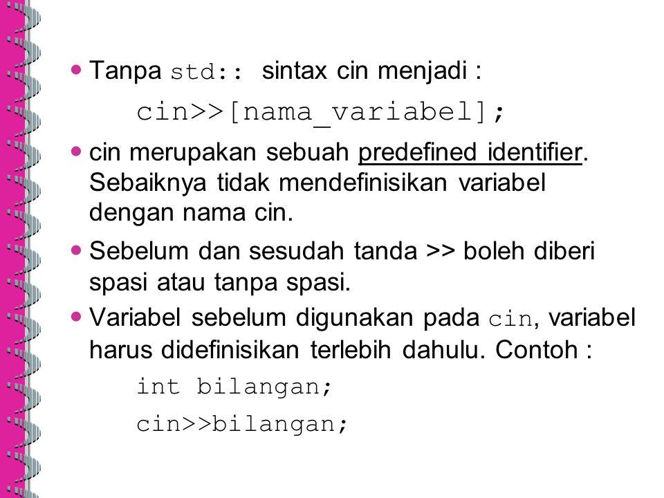 Tanpa std:: sintax cin menjadi :