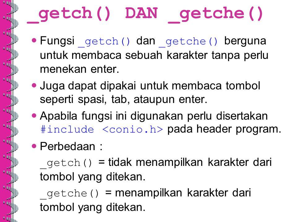_getch() DAN _getche()