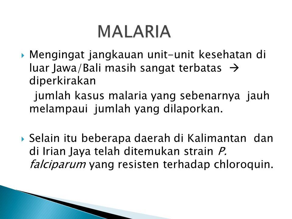 MALARIA Mengingat jangkauan unit-unit kesehatan di luar Jawa/Bali masih sangat terbatas  diperkirakan.