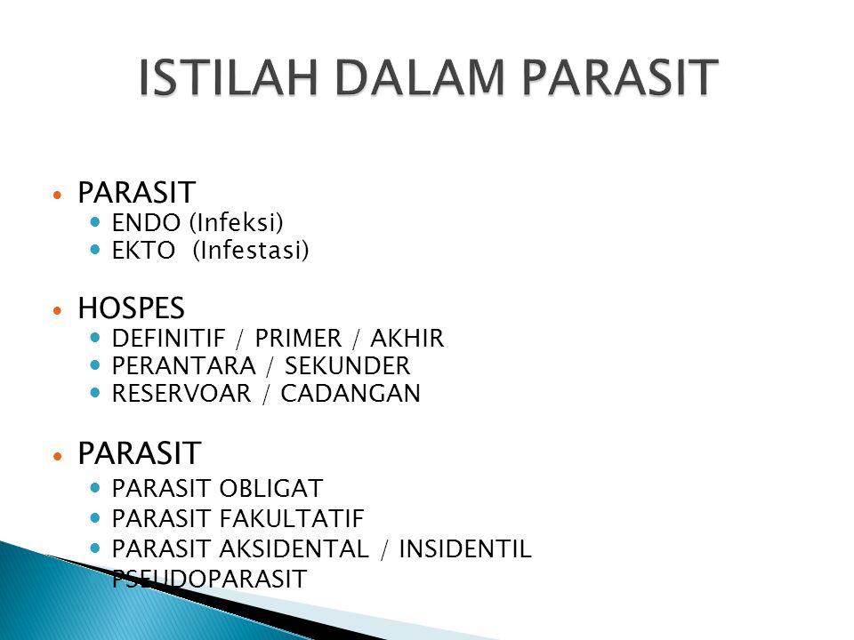 ISTILAH DALAM PARASIT PARASIT HOSPES ENDO (Infeksi) EKTO (Infestasi)