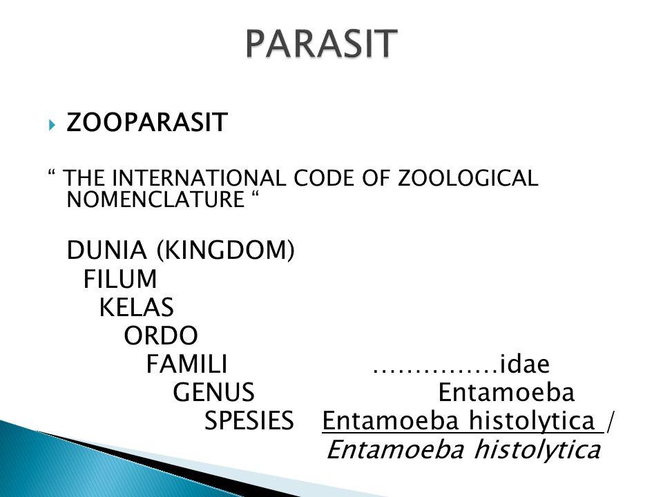PARASIT ZOOPARASIT DUNIA (KINGDOM) FILUM KELAS ORDO FAMILI ……………idae