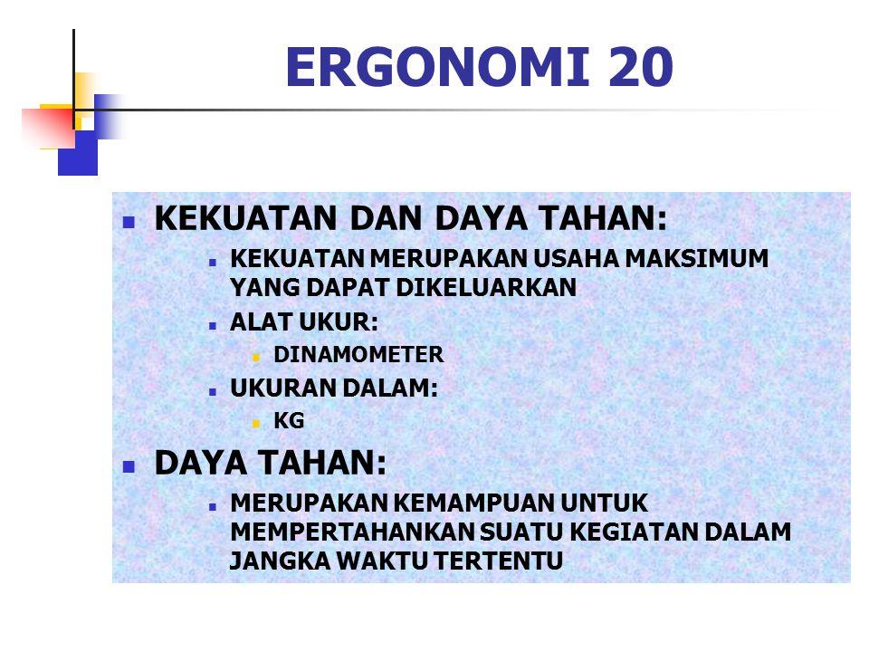 ERGONOMI 20 KEKUATAN DAN DAYA TAHAN: DAYA TAHAN: