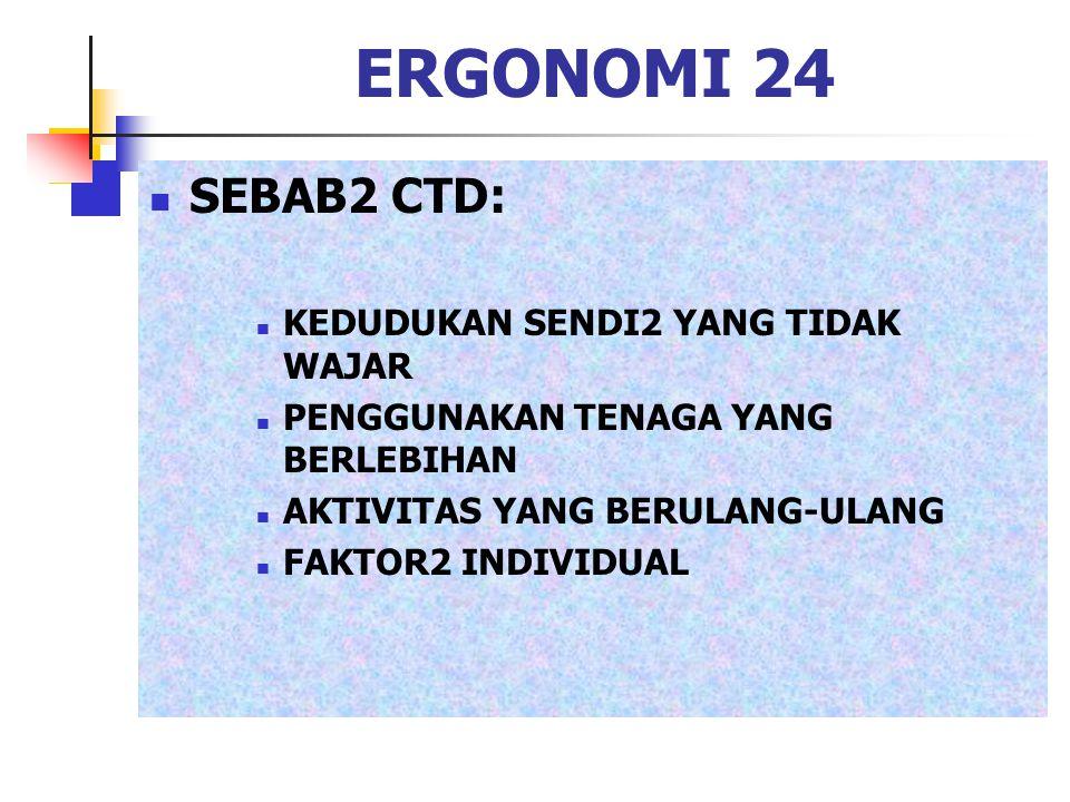 ERGONOMI 24 SEBAB2 CTD: KEDUDUKAN SENDI2 YANG TIDAK WAJAR