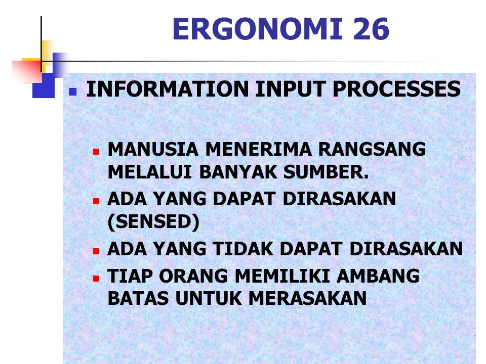 ERGONOMI 26 INFORMATION INPUT PROCESSES