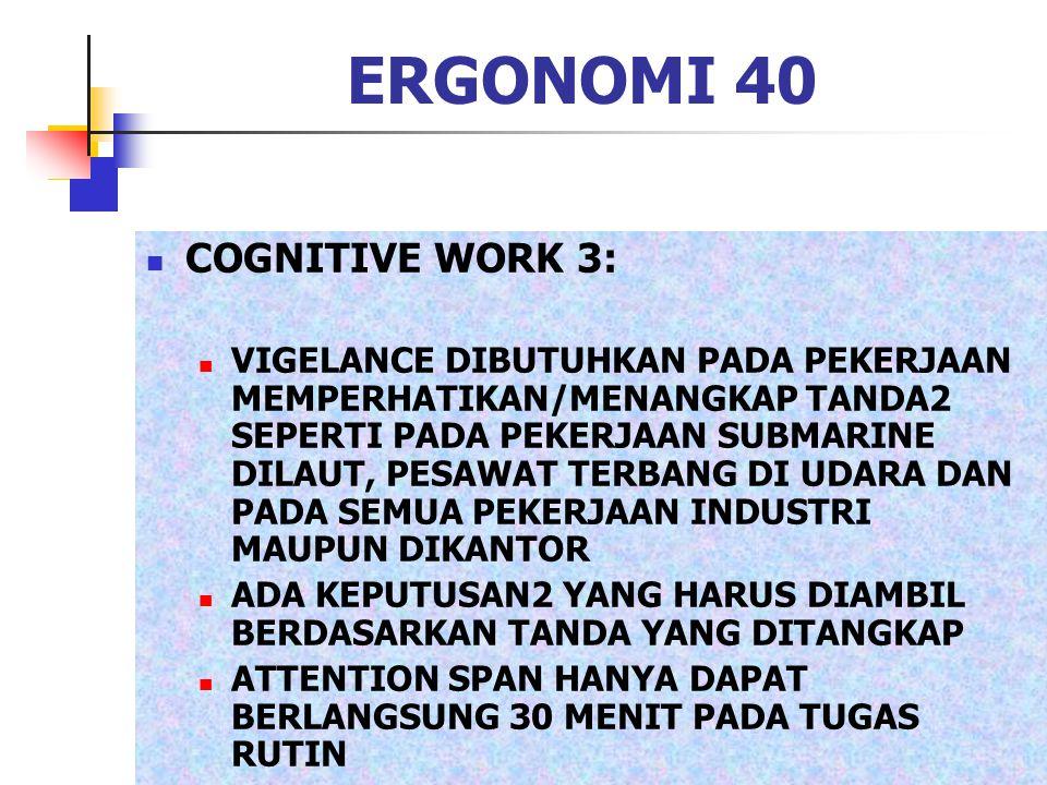 ERGONOMI 40 COGNITIVE WORK 3: