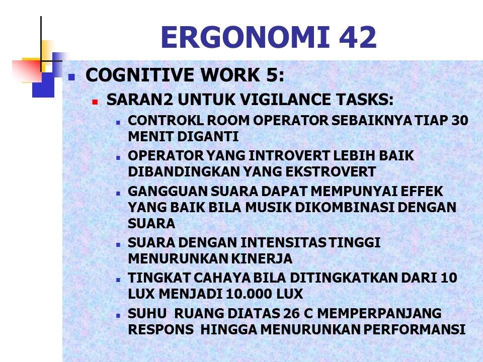 ERGONOMI 42 COGNITIVE WORK 5: SARAN2 UNTUK VIGILANCE TASKS: