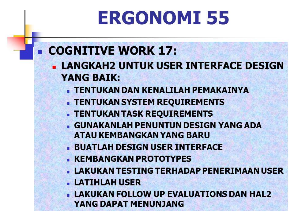 ERGONOMI 55 COGNITIVE WORK 17: