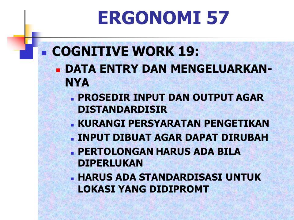 ERGONOMI 57 COGNITIVE WORK 19: DATA ENTRY DAN MENGELUARKAN- NYA