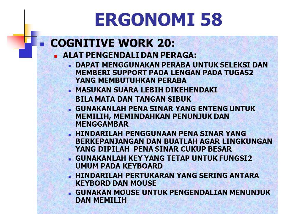 ERGONOMI 58 COGNITIVE WORK 20: ALAT PENGENDALI DAN PERAGA: