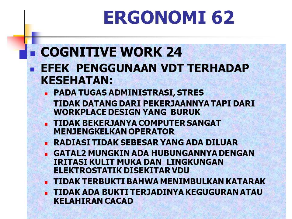 ERGONOMI 62 COGNITIVE WORK 24 EFEK PENGGUNAAN VDT TERHADAP KESEHATAN: