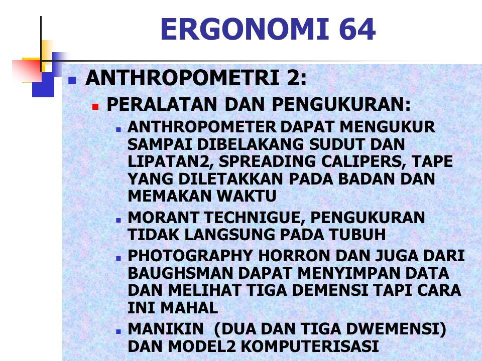 ERGONOMI 64 ANTHROPOMETRI 2: PERALATAN DAN PENGUKURAN:
