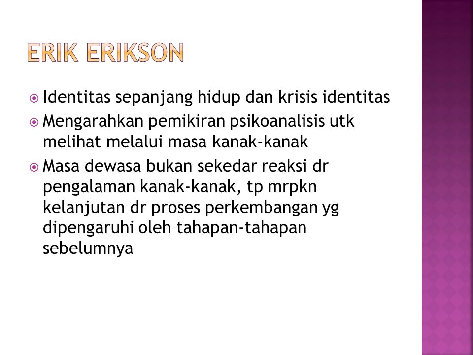 Erik Erikson Identitas sepanjang hidup dan krisis identitas