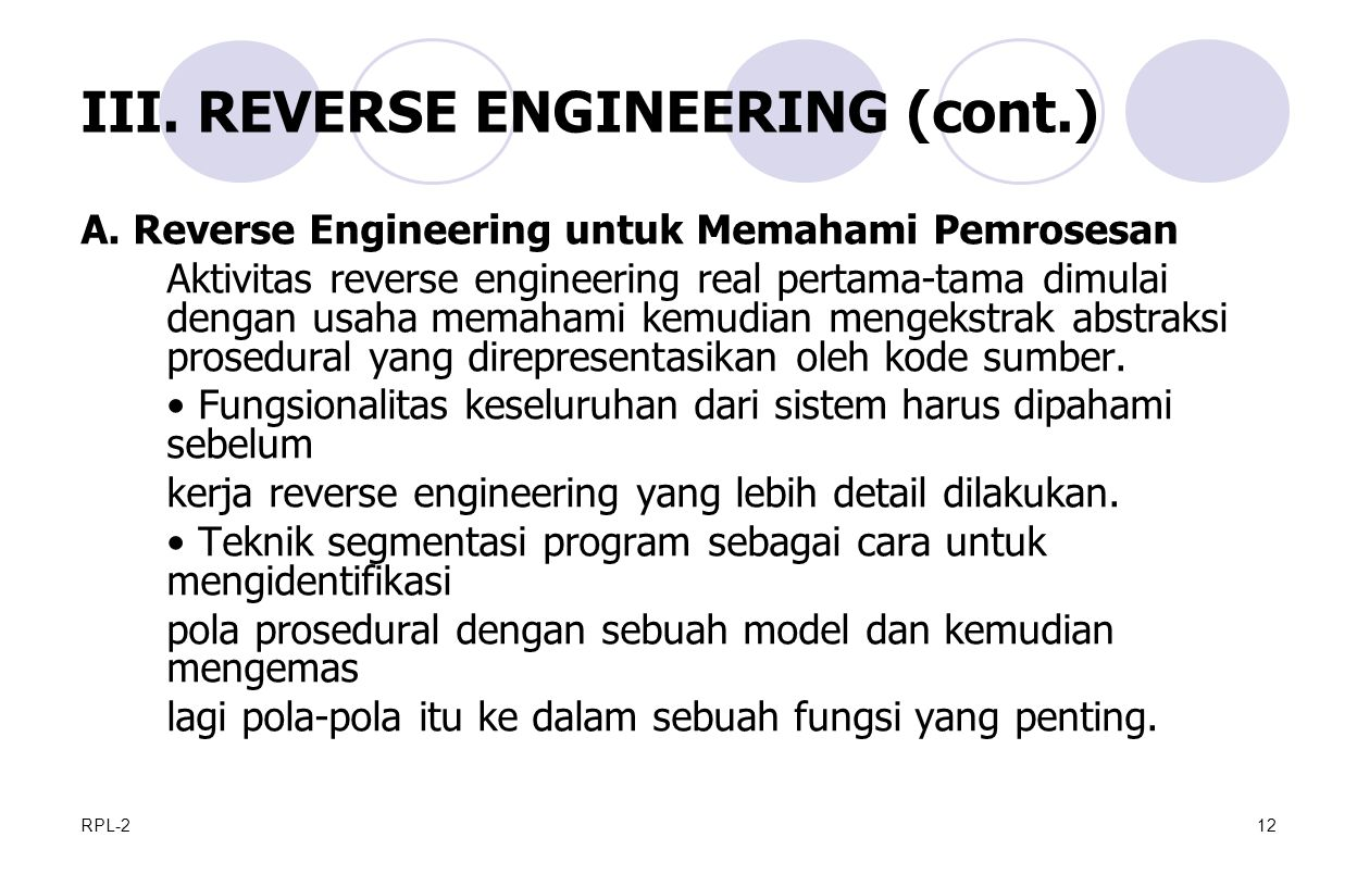 III. REVERSE ENGINEERING (cont.)