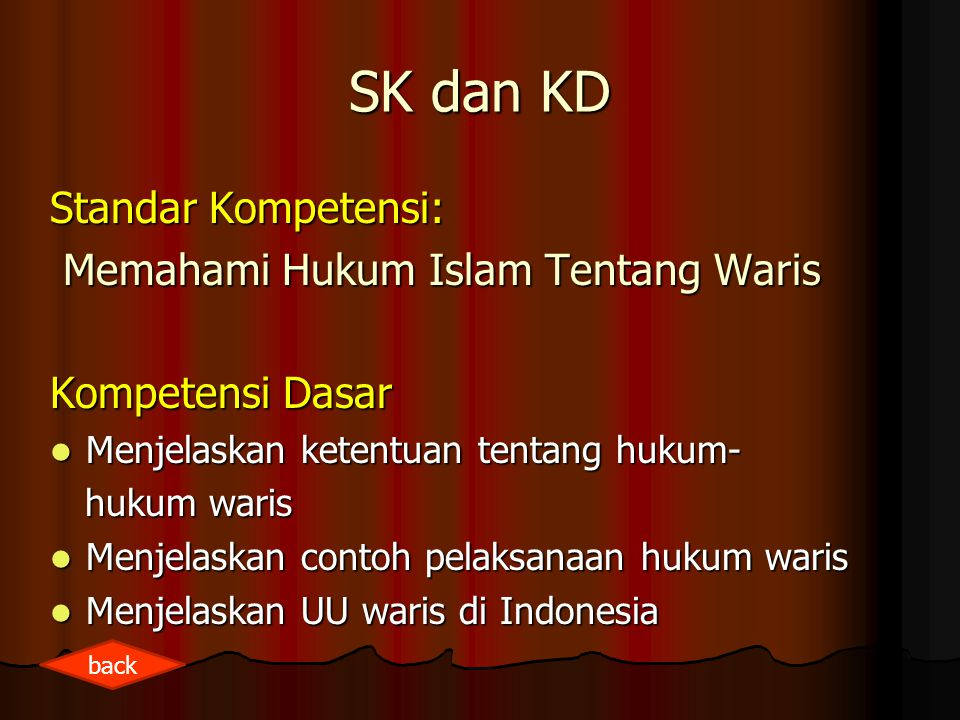 SK dan KD Standar Kompetensi: Memahami Hukum Islam Tentang Waris