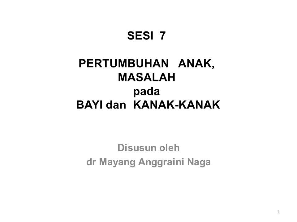 SESI 7 PERTUMBUHAN ANAK, MASALAH pada BAYI dan KANAK-KANAK