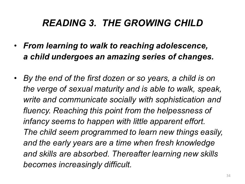 READING 3. THE GROWING CHILD