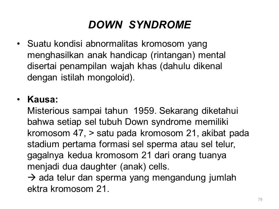 DOWN SYNDROME Suatu kondisi abnormalitas kromosom yang