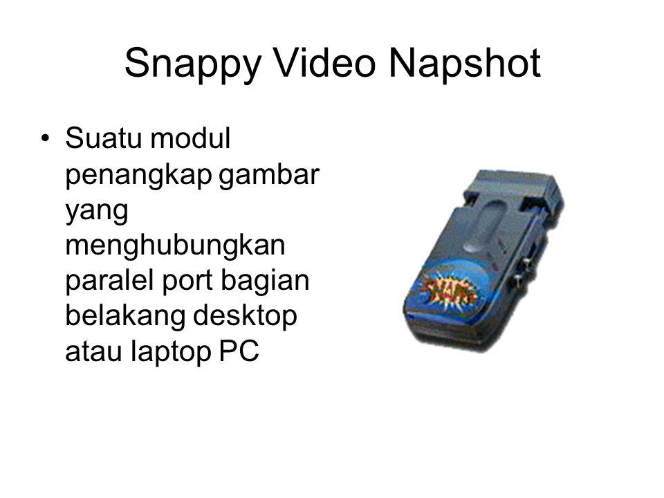 Snappy Video Napshot Suatu modul penangkap gambar yang menghubungkan paralel port bagian belakang desktop atau laptop PC.