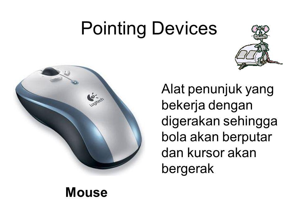 Pointing Devices Alat penunjuk yang bekerja dengan digerakan sehingga bola akan berputar dan kursor akan bergerak.