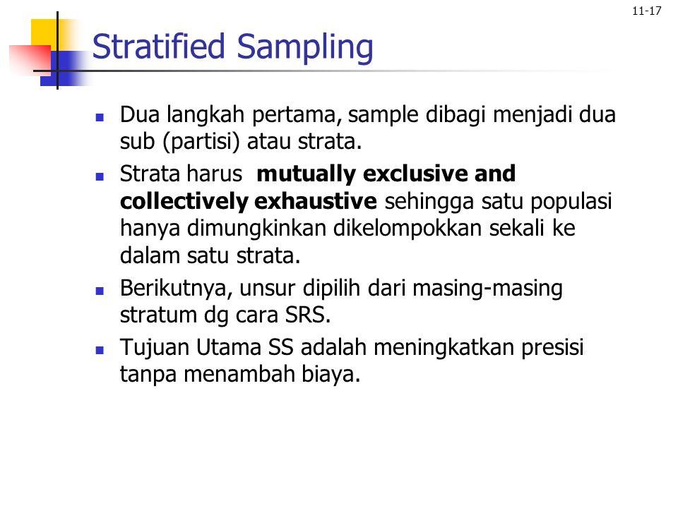 Stratified Sampling Dua langkah pertama, sample dibagi menjadi dua sub (partisi) atau strata.